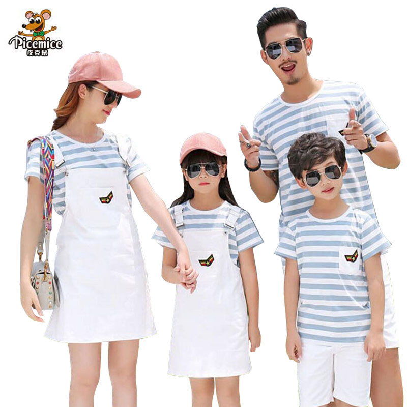 Household Matching Outfits Striped Mom Daughter Clothes Household Clothes Father and Son T shirt and Pants Household Garments Units household matching, father and son, household garments set,Low cost household...