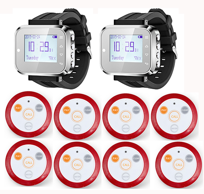 2pcs Hot Sale Black Waiter Service Calling System Watch Pager Service System (KR-C166) + 8pcs F64 Wireless Transmitter one set wireless system waiter caller bell service 1 watch wrist pager with 5pcs table customer button ce passed