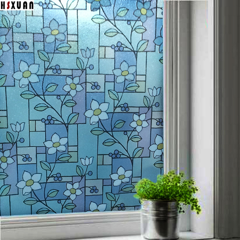 window frosted film 60x100cm flower patterns static stickers removable tint film on window decorative Hsxuan brand 602033