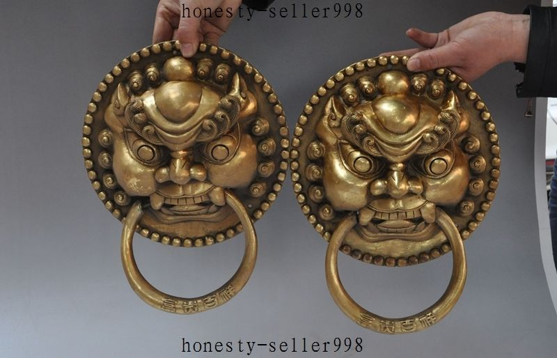 11Chinese brass copper Guardian Foo dog lion head Mask Door Knocker door Latch 11Chinese brass copper Guardian Foo dog lion head Mask Door Knocker door Latch