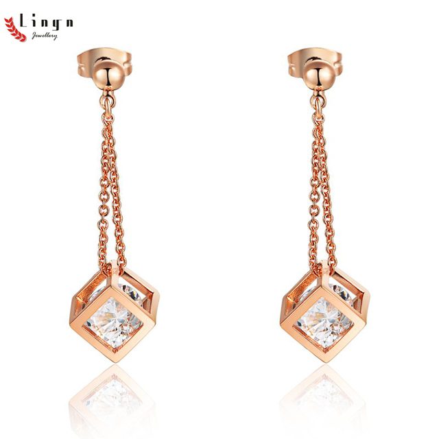 5537c75808be Top Grade Fashion Romanti pendientes mujer moda 2017 Cubic zirconia Alloy  Rose Gold Sparkling Stone earrings for women earrings
