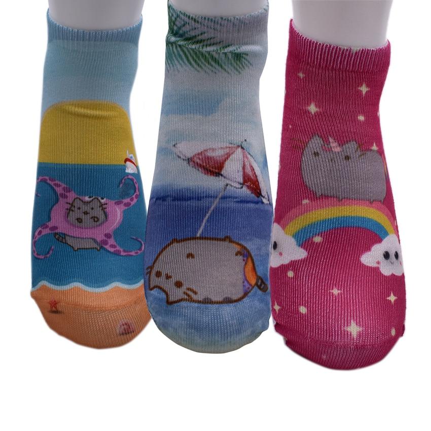 New 3D print Arrival Pusheen short Cat Socks Cute Beauty Women Low Cut Ankle Animal funny Socks Free Shipping