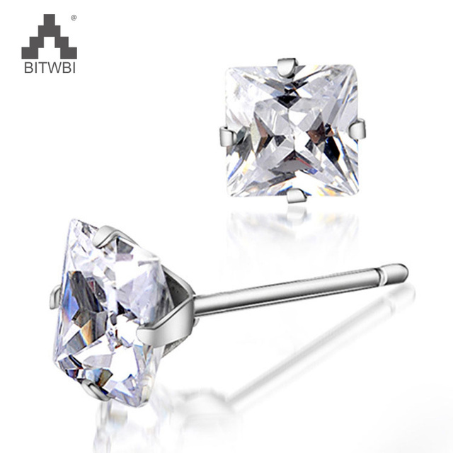 3-6mm 100% 925 Sterling Silver New Square Male Earrings Nail AAA zircon Fashion