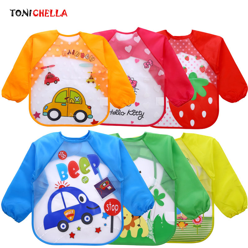Cute Cartoon Baby Bibs Burp Clothes Long Sleeve Waterproof Feeding Eat Toddler Colorful Pattern Newborns Infant Clothing CL5042