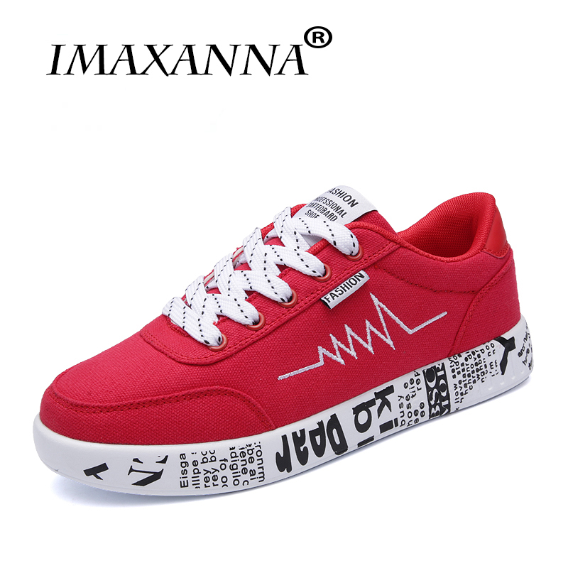 IMAXANNA 2018 Women Sneakers Vulcanized Shoes Ladies Lace up Shoes Breathable Walking Canvas Sneakers Graffiti Flat