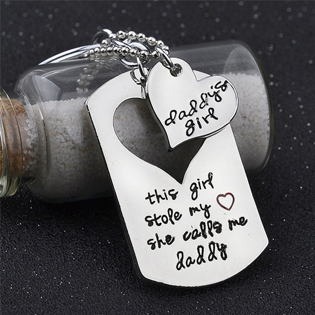 Daddy Father Daughter Necklace Paired Pendants Key Chain Family Jewelry Birthday Fathers Day Gift Dad Love