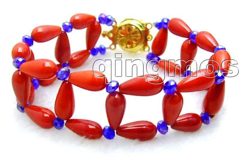 SALE 2 Strands 6*12mm Drop Red High Quality natural Coral hand-knitted 8