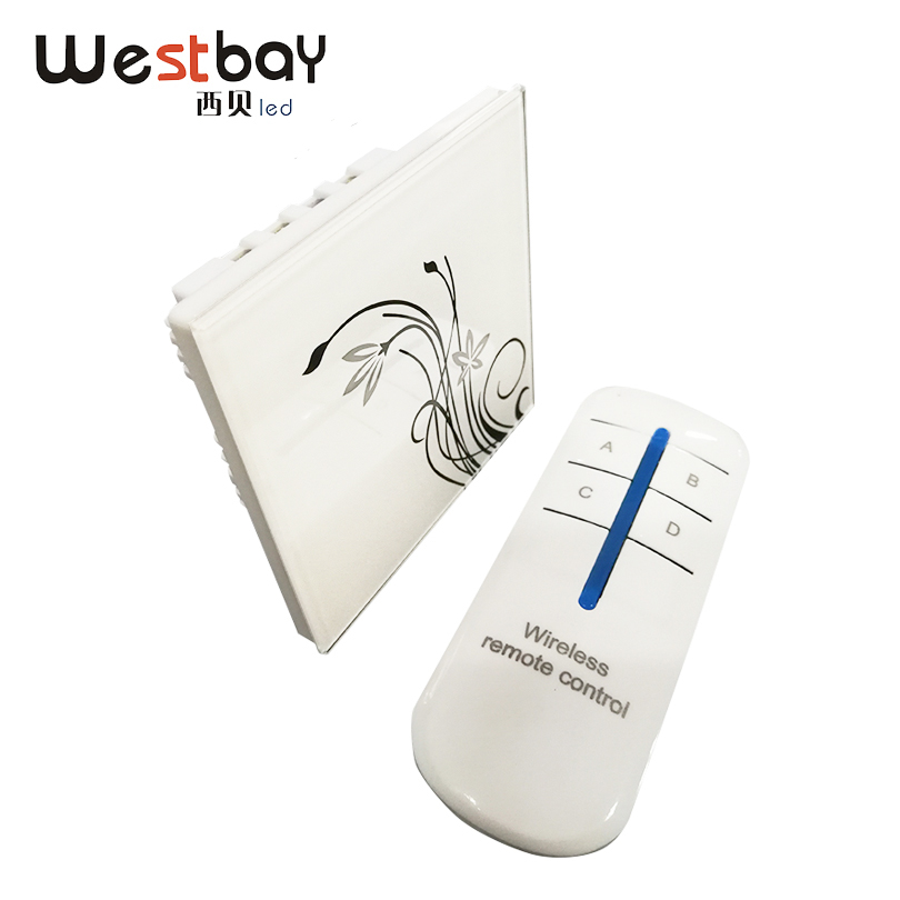 Westbay Crystal Touch Switch 2 Gang White Color Glass Panel Touch Wall Switch With Remote Control Light Switch AC110-250V