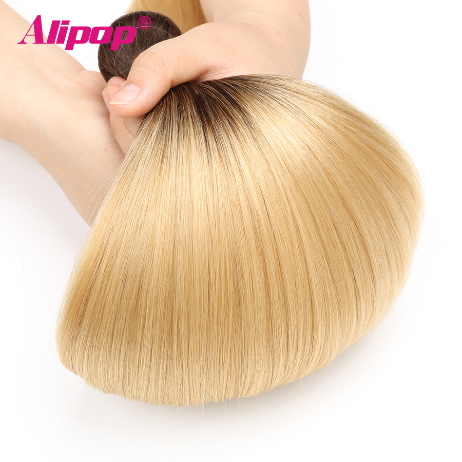 T1B 613 Bundles Brazilian Hair Straight Human Hair 3 4 Bundles Dark Roots Blonde Bundles Ombre Non Remy Hair Extensions ALIPOP (5)
