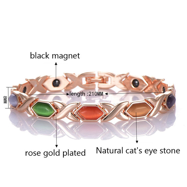 Punk Healthy Charm Women Black Chain Link Bracelets X Symbol Multi Fashion Copper Magnet Energy