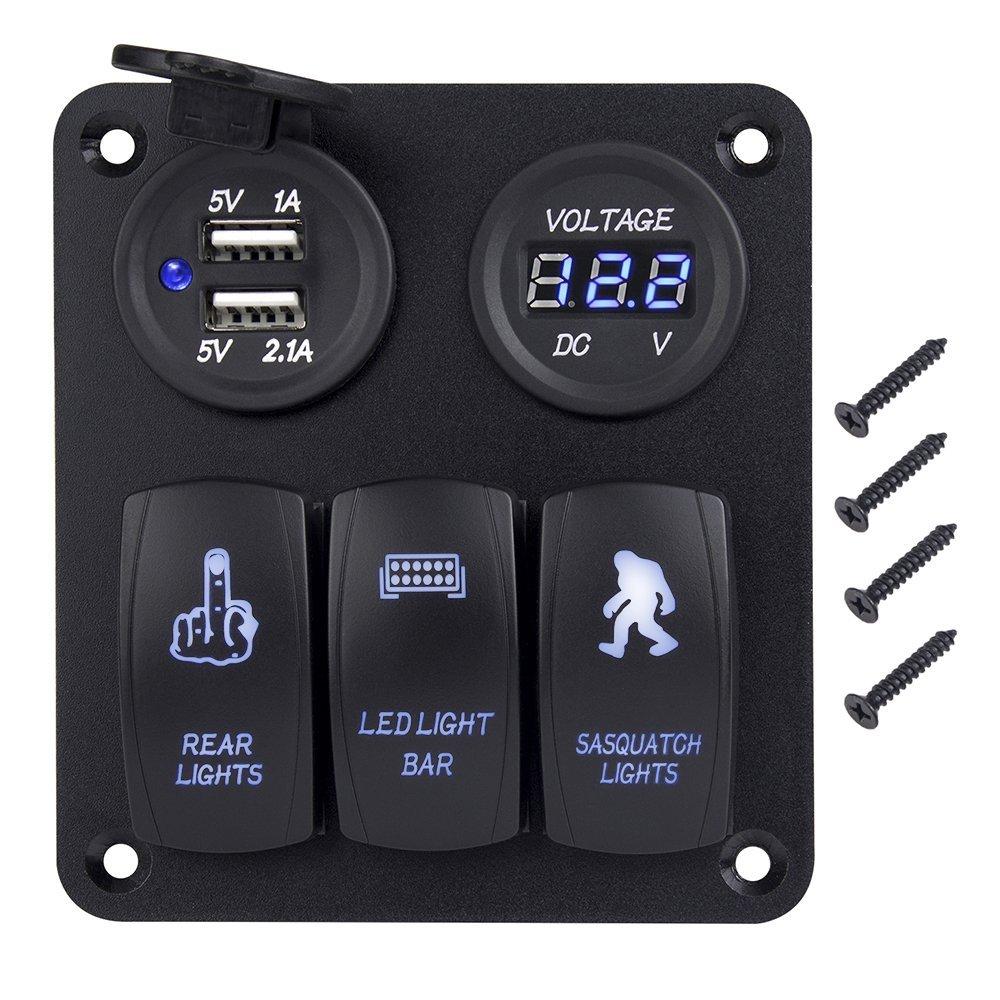DC 12V-24V 3 Gang Toggle Rocker Switch Panel Waterproof Digital Voltmeter + Dual USB Power Charger Blue Led Light Control Panel