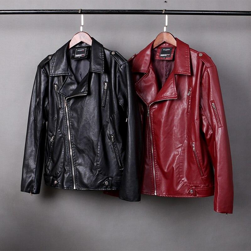 Good quality men's oblique zipper leather jacket men's clothing , 2018 Autumn winter England style red plus size leather men