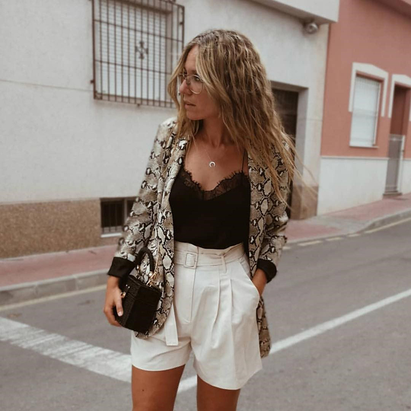 New Women Blazers Long Sleeve Blazer Feminino Snake Skin Print Outerwear Office Lady Work Wear Fall