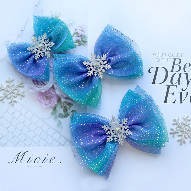 Kids Hair Bows Blue Starry Mesh Hair Clips Snowflake Ribbon Bows Girls Cosplay   Headwear   Princess Party Dance Headdress