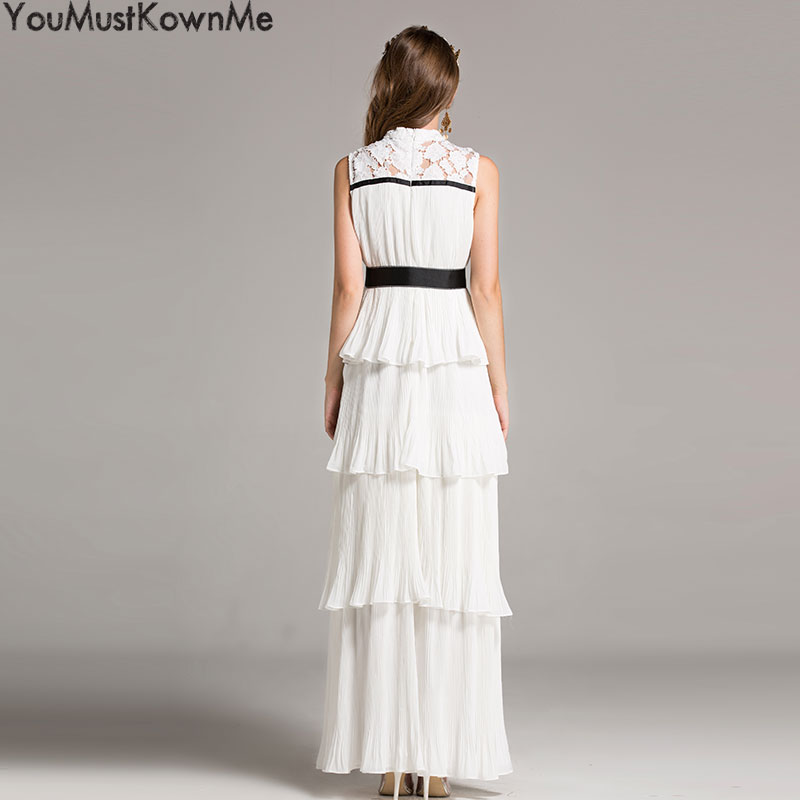 2019 high quanlity women sleeveless party maxi long dress elegant with bow belt white yellow evening embroidery lace lady dress in Dresses from Women 39 s Clothing