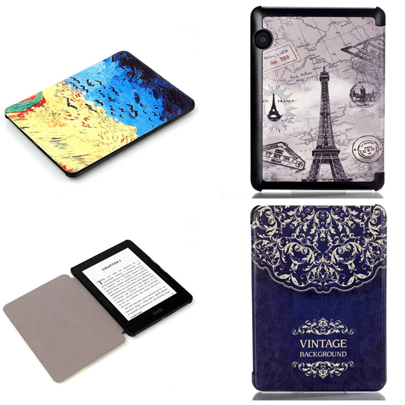 CY For Amazon Kindle Voyage 6 inch Ereader Ebook Ultra Thin Slim Print PU Leather Cover Fashion Book Protective Case cy ultra slim premium protective shell leather cover for amazon kindle paperwhite 1 2 3 2013 2014 2015 model 6 ebook case