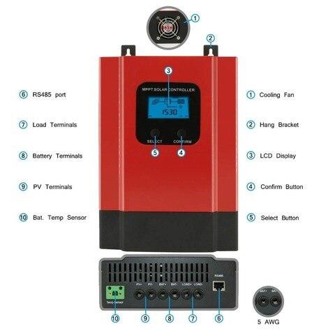 mppt controlador de carga solar 60a 12