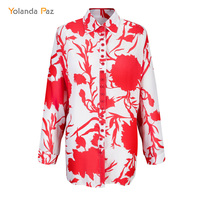 Yolanda Paz 2017 Casual Blouse Cotton New Arrivals Women S Top Red Long Sleeve Fashion Flower