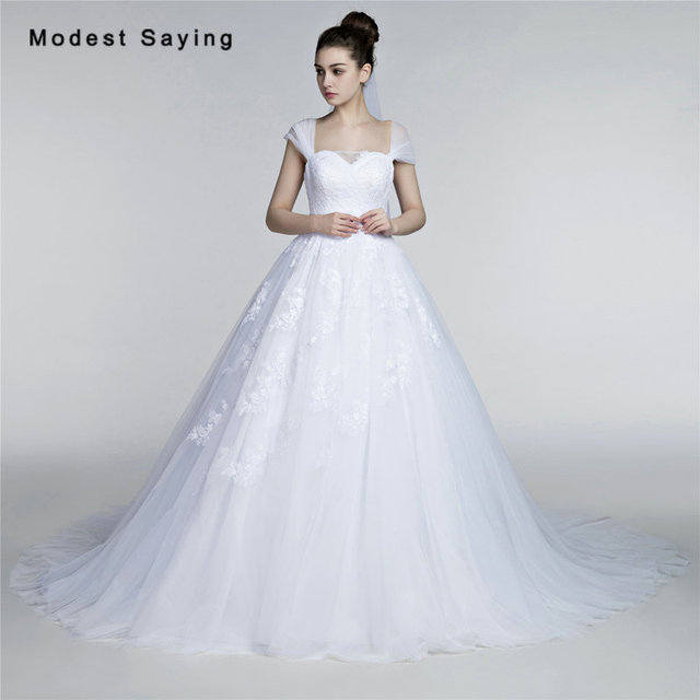 Elegant White Ball Gown Square Cap Sleeve Pleat Lace Wedding Dresses ...