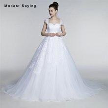 Elegant White Ball Gown Square Cap Sleeve Pleat Lace Wedding Dresses 2017 Formal Women Bridal Gowns vestido de noiva Custom Made