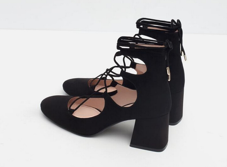 Aliexpress.com : Buy Brand Womens Shoes Lace Up Mid Heel Black ...