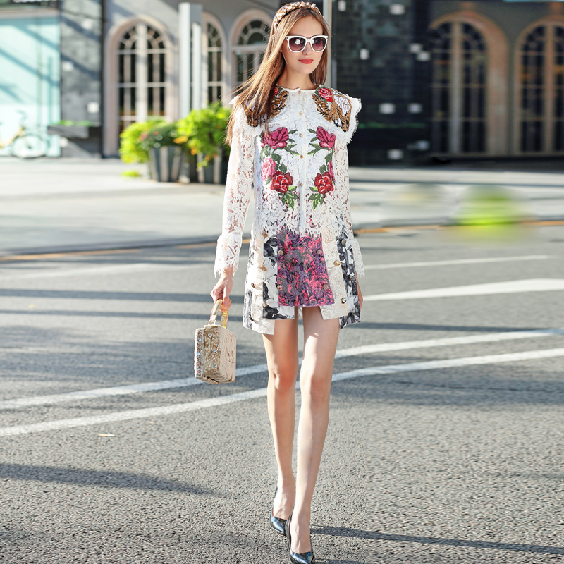 New Catwalk Fashion Milan Designer Runway 2018 Spring WomenS Party Office Vintage Long Sleeves Lace Embroidery Half Skirt Set