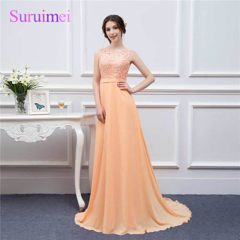 Hot Sale High Neck Backless Long Lace Chiffon Peach Color Prom Dress ...