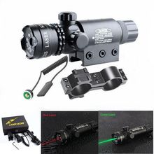 Tactical Red Green Laser Sight Adjustable 5mw Laser Mount Pointer Rifle Scope With Point Switch For Hunting Airsoft Airgun Gun tactical 5mw red laser sight rifle scope riflescope designator 20mm mount tail switch for hunting