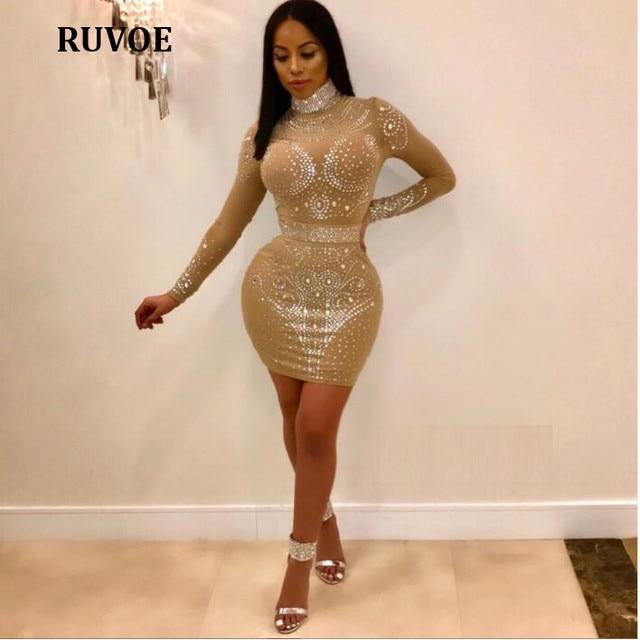 44752073 2018 Fashion See Through Crystal Dress Long Sleeve Turtleneck Sexy Bodycon  Women Dresses Mesh Women Black Club Mini Dress FZ-18