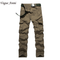 Vogue Anmi 2016 Top Fashion Multi-Pocket Solid Mens Cargo Pants High Quality Army Pants Plus Size Men Trousers BlackKhaki Color