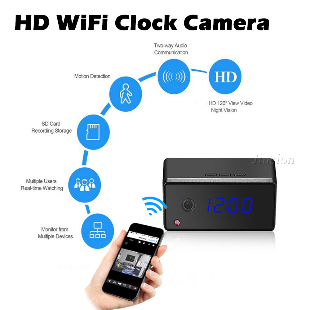 WiFi Mini Camera Remote Control Clock Cam 720P HD Motion Sensor IR Night Vision Alarm Wireless Micro Camcorder Video RecorderWiFi Mini Camera Remote Control Clock Cam 720P HD Motion Sensor IR Night Vision Alarm Wireless Micro Camcorder Video Recorder