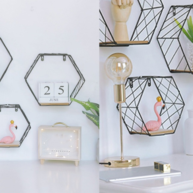 Nordic Iron Hexagonal Grid Wall Floating Shelf Combination Wall Hanging Geometric Figure Wall Decoration For Living Room Bedroom 4