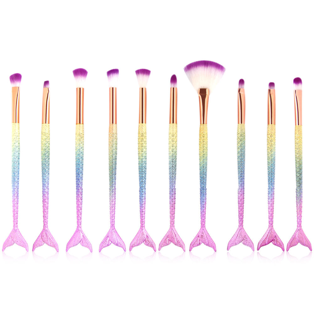 7/10PCS Pro Mermaid Makeup Brushes Set Foundation Powder Eyeshadow Contour Concealer Blush Fish Brush Cosmetic Make Up Brushes 1000g 98% fish collagen powder high purity for functional food