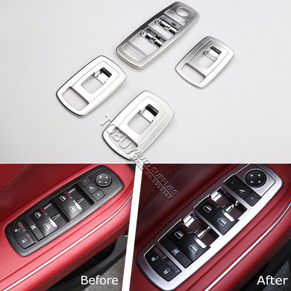 TTCR-II Car Accessory For Maserati Levante 2016 ABS chrome Interior Window Lifter Switch Buttons Panel Trim Strip Plate Stickers free shipping for kia sportage door window switch with side mirror switch window lifter switch