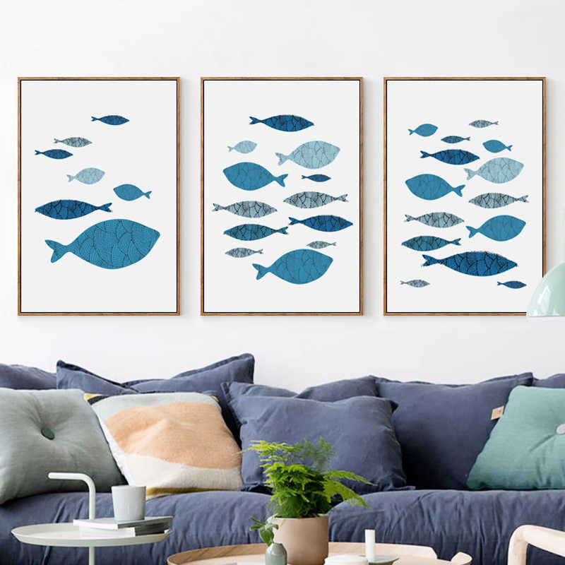 Elegant Poetry Mediterranean Style Marine Fish A4 Canvas Painting Art Print Poster Picture Wall Home Decor Restaurant Decoration