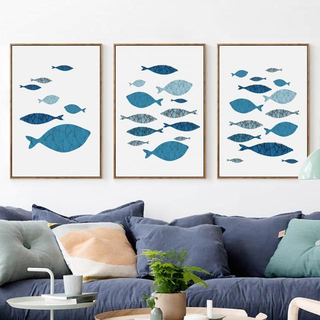 Schon Elegante Poesie Mediterranen Stil Marine Fisch A4 Leinwand Malerei  Kunstdruck Poster Bild Wand Home Decor Restaurant