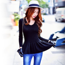 dabuwawa v neck sweater fashion temperament slim long sleeved knitted sweater women pink doll
