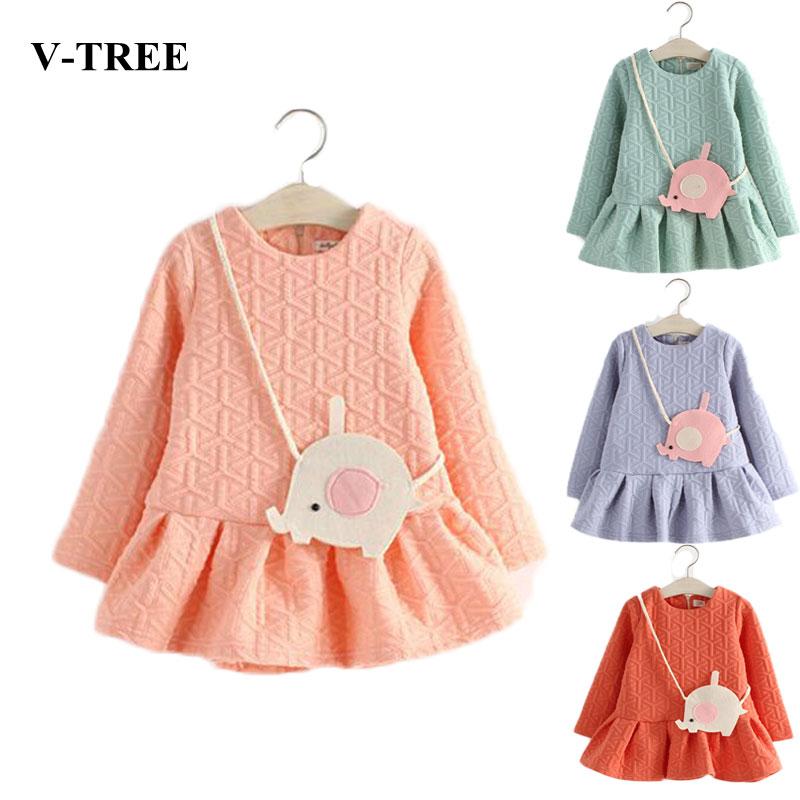 V TREE spring winter thicken girl dress baby elephant satchel dresses vestidos de menina long sleeved