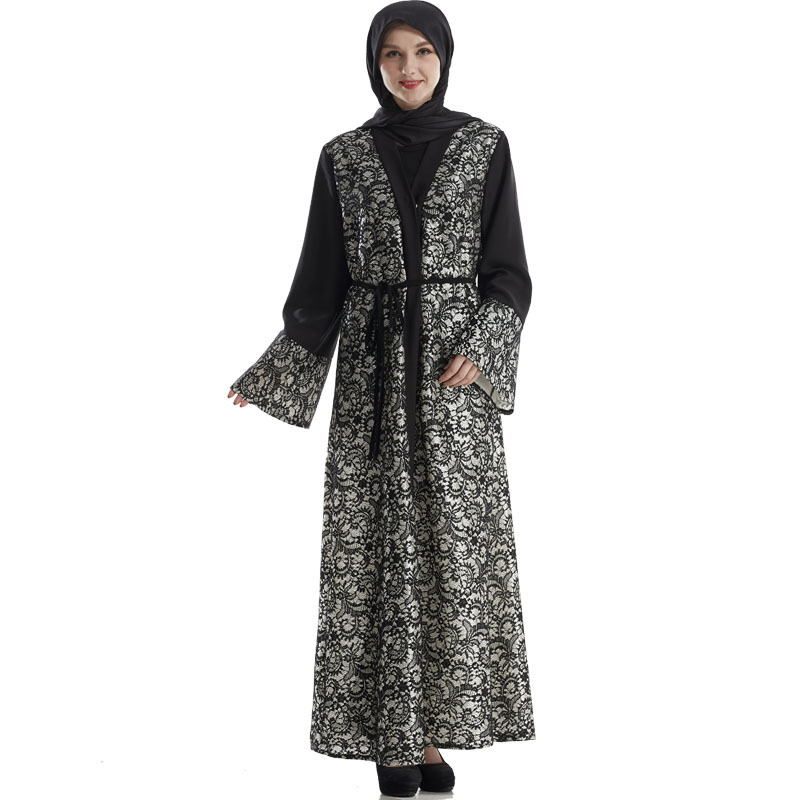 The new Middle East Malay Muslim Turkish lace cardigan robe crochet hollow flower pattern in black robes Comes with belt