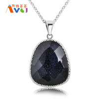 AMGJ Trapezoid Stone Pendants Necklace Imitation Diamond Cut Surface Black Purple Sand Women Jewelry Accessories Fee