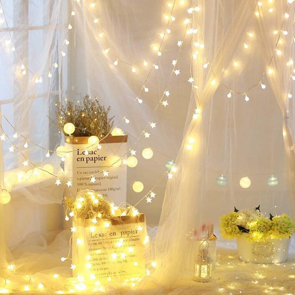 Light string battery light silk flower silk flower ball - String lights living room ...