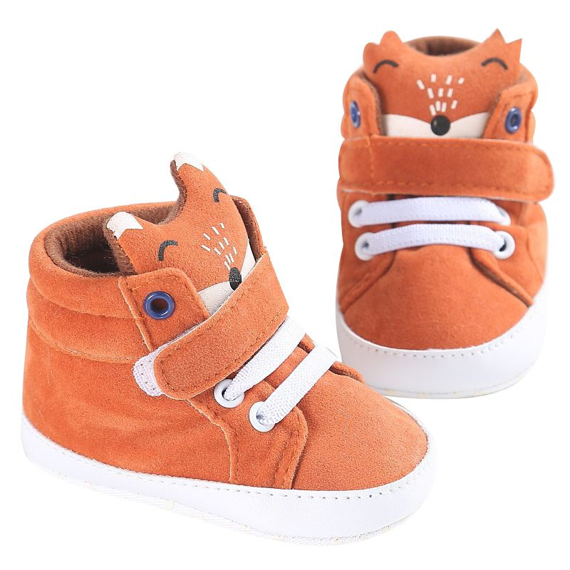 2017 Kid Fox Head Lace-UP first walker Denim Sneaker Anti-slip Soft Sole Toddler Footwear Hook Baby Shoes Winter Cotton Cloth