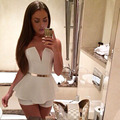 Women Sexy Club Jumpsuits 2016 V-neck White Rompers strapless Woman Bodycon Jumpsuit Short Pants Nightclubs Bodysuit
