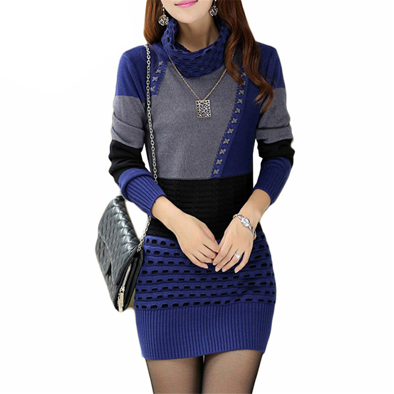 Sweater Dress Autumn Winter Women Warm Thick Turtleneck Sexy Knitted Dress Long Sleeve Patchwork Mini Pullovers Vestidos AB417 women turtleneck front pocket sweater dress