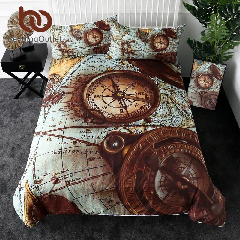 BeddingOutlet Compass Bedding Set World Map 3D Print Duvet Cover Retro Style Home Textiles For Adult Blue Brown Bedclothes 3pcs