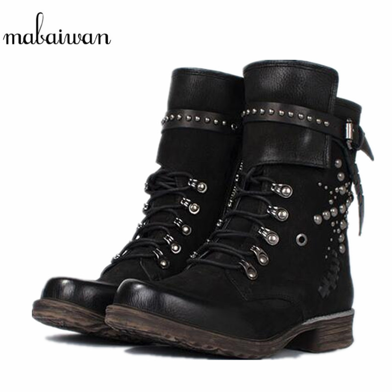 2017 Fashion Women's Shoes Rivets Winter Autumn Ankle Boots Genuine Leather Snow Short Boots Lace Up Militares Shoes Women Flats skullies