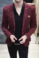 Casual Blazer Mens Clothing 2018 New Autumn Winter British Vintage Prom Blazers Men Hombre 3XL Wine Red Grey Brown Jacket Men