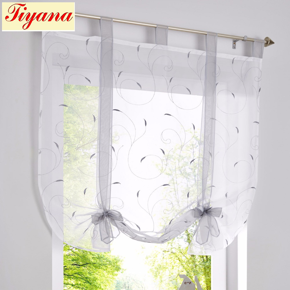Lovely Tulle Kitchen Curtain For Window Balcony Rome Pleated Design Green Gray Color Sheer Short Valance Tulle Roman Curtain Short Home & Garden
