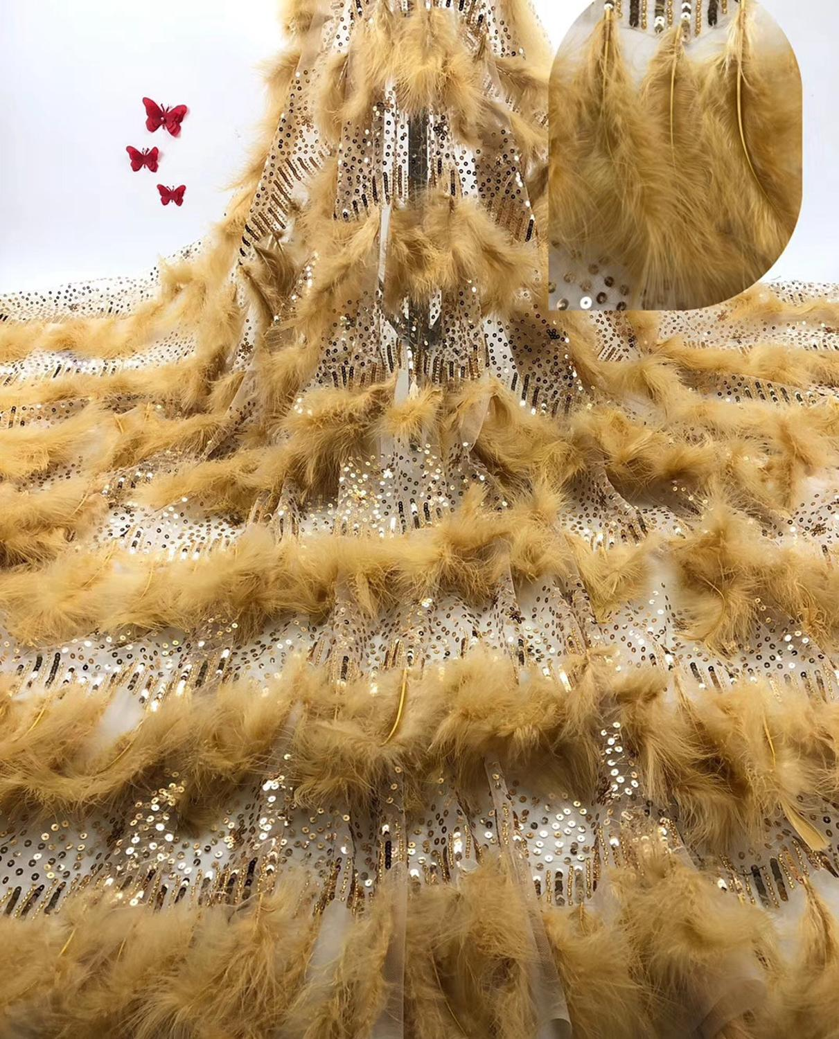 Top grade feather lace fabric african lace fabric 2019 high quality wedding dress lace evening/show dress lace fabric