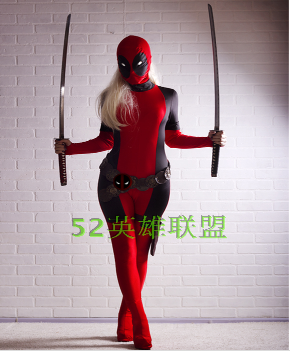 Nouvelle dame Deadpool Costume rouge complet corps Spandex fille/femmes/femme Deadpool Costumes